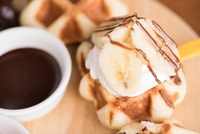 Lollipop Sweet Liege Waffle with Banana from Waffling Beans