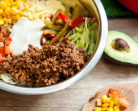 Chilli Beef with Smoked Sour Cream Dressing from Guacamole 360 Degree