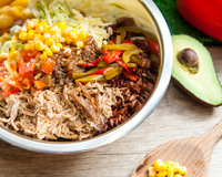 Pulled Pork with Seasonal Special Dressing from Guacamole 360 Degree