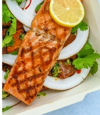 Grilled salmon from Alpine Spring Catering