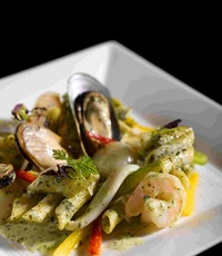 Penne Seafood with Pesto Sauce - Gustos Catering from Gustos Catering