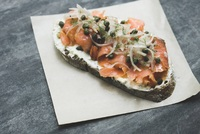 Smoked Salmon and Cream Cheese Toast from Pickleville