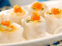Steamed Rice Flour Roll Wrapped with Crispy Prawn Roll Top with Crab Roe from Dim Sum Heritage