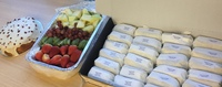 Customer Dhwani - Petite Wraps Platter, Mixed Fruit Platter, Yuzu Cranberry Pound Cake from Cedele