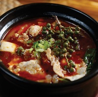 Sichuan Peppers Pork and Vegetables in Clay Pot from Liao Za Lie