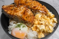 Grilled Salmon Rice Bowl from Indulge