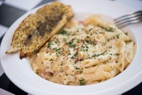 Chicken Carbonara from Checkmate Pizza