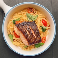 Grilled Salmon Aglio Olio from Thunderbird Bistro