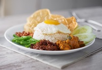 Nasi Lemak with Vegetarian Curry Mutton and Fried Egg from PappaRich