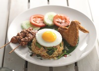 Kampung Fried Rice with Chicken Wing and 2 Satay Sticks from PappaRich
