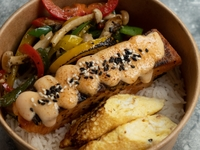 Large Bowl with Pan Seared Salmon Fillet from What A Bowl!