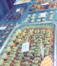 Customer Suku - Dessert Platters Mini Fruit Tart (12 pieces), Cold Canape Platters Sausage & Pineapple (48 pieces), Cold Canape Platters Emmental Cheese & Sandried Tomato with Gala Cracker (12 pieces), Cold Canape Platters Smoked Salmon Rose with Crab Roe (12 pieces), Dessert Platters Mini Creme Puff (12 pieces from ChitChat