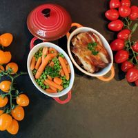 Roasted Chicken with Green Peas and Carrots from Monsieur CHATTE