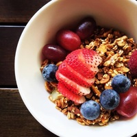 Homemade Almond Granola served with Anti-oxidant Rich Berries from Artisan Boulangerie Co (abc)