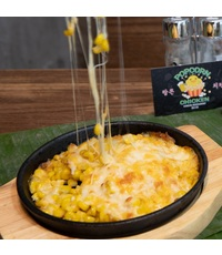 Baked Sweet Corn and Cheese in Pan from Popcorn Chicken Korea Restaurant