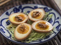 Soft Boiled Eggs with Honey Walnuts from The Night Market