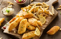 B.B.F. BRITISH Battered Fish: hand-dipped pieces of white fish in secret batter and quick fried to seal the flavour in. ​Sink your teeth into impossibly soft, juicy fish meat fried till crisp golden perfection. from CHIPPY British Take Away