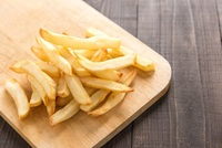 Thick-Cut Straight Fries: crisp fries seasoned with salt and pepper. from CHIPPY British Take Away