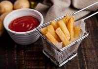 Hand-Battered Fries: hand-dipped pieces of thick-cut straight fries in secret batter and quick fried to seal the fluffy potatoes fresh and seasoned with salt and pepper. from CHIPPY British Take Away