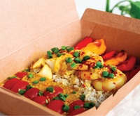 Seafood Curry with Fragrant Brown Basmati Rice and Vegetables from Px Plate