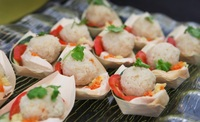 Traditional Hainanese Chicken Rice Balls on a Boat from Yeh Lai Siang