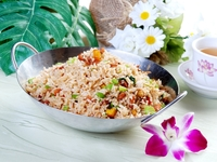 Pan-fried Rice with Pumpkin, Taro and minced Vegetarian meat in XO sauce from Three Virtues Vegetarian Restaurant