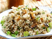 Fried Rice with diced vegetarian Sausage, Mushroom and Olive Oil from Three Virtues Vegetarian Restaurant