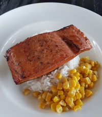 Garlic Soy Salmon Rice from Squeaky Clean Cafe