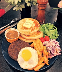 Angus Beef Patty Pancake from Dine-Out Western Catering