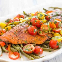 Tandoori Salmon with Roasted Veggies  from Paleo Taste