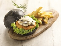 Creamy Mushroom Charcoal Burger w Fries @ $9.80 from Grove by Elemen
