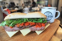 Roast Beef & Cheese with Sweet Pepper Relish Sandwich from Proper Kitchen
