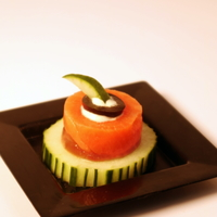 Smoked Salmon Roll Over Cucumber from U Catering