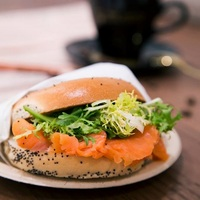 Smoked Salmon and Cream Cheese Bagel  from The Coffee Academics