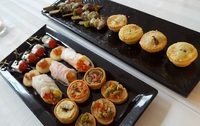 Mini Chicken and Mushroom Pie and Mini Lamb Kebabs amongst the variety of evening bites from Shamrock Catering