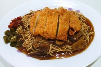 Chicken Cutlet Noodle with Mushroom Sauce from Homely Cooked Food
