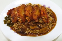 Spicy Chicken Wing Noodle with Mushroom Sauce from Homely Cooked Food